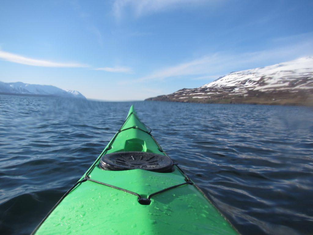 Kayak below Kaldbakur Iceland